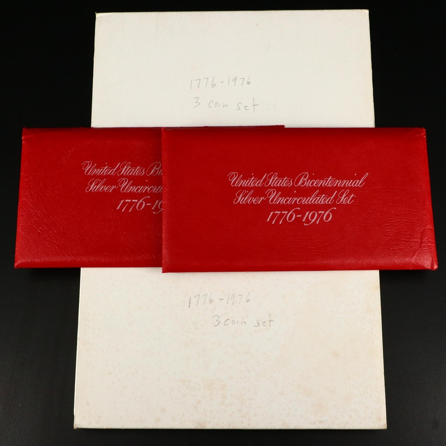 Four U.S. Bicentennial Silver Coin Sets, Proof and Uncirculated