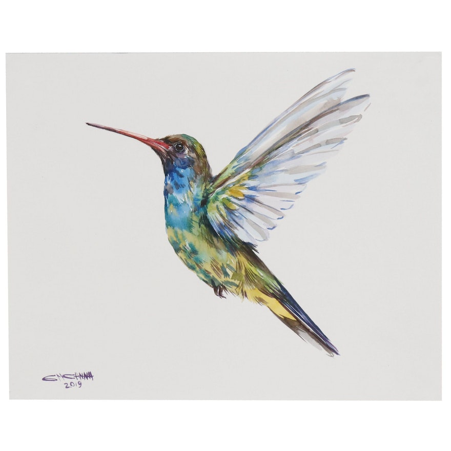 "Ganna Melnychenko Watercolor Painting ""Colorful Hummingbird Flying"""