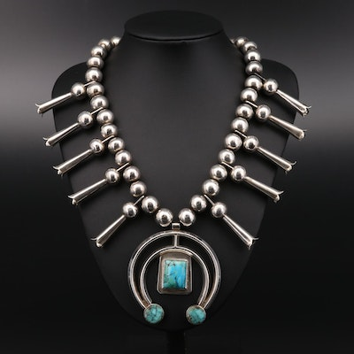 Southwestern Sterling Turquoise Squash Blossom Necklace with Naja Pendant