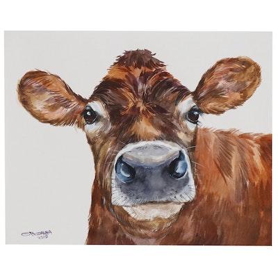 "Ganna Melnychenko Watercolor Painting ""Rusty Cow Portrait"""