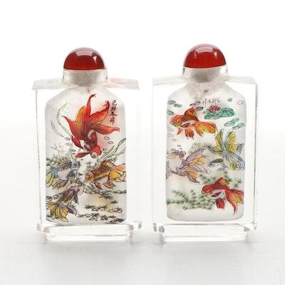 "Japanese Reverse Painted Decorative ""Pond and Koi Motif"" Snuff Bottles, Vintage"