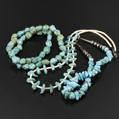 Turquoise and Shell Necklaces with 900 Silver