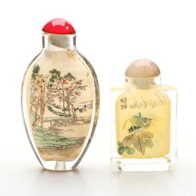 Japanese Reverse Painted Decorative Glass Snuff Bottles Vintage