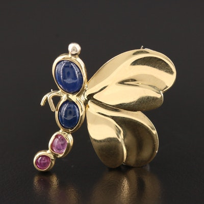 18K Yellow Gold Sapphire and Ruby Insect Brooch