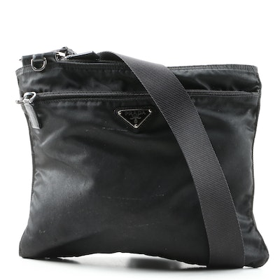 Prada Crossbody Slip Bag in Black Tessuto Nylon