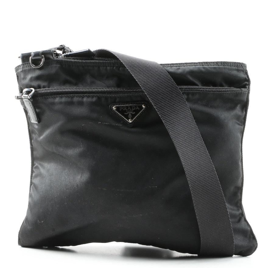 Prada Crossbody Slip Bag in Black Tessuto Nylon
