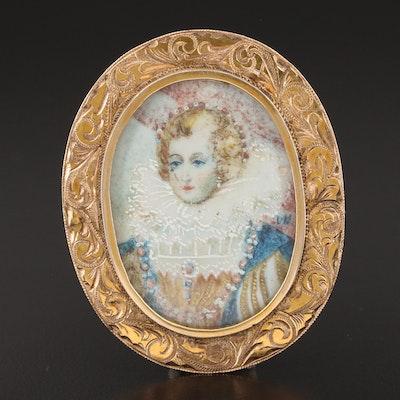 Victorian 10K Yellow Gold Queen Elizabeth I Portrait Brooch
