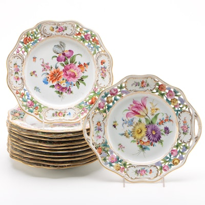 Carl Thieme Dresden Hand-Painted Pierced Porcelain Dinner Plates and Cake Plate