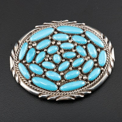 Sterling Silver and Turquoise Southwestern Belt Buckle