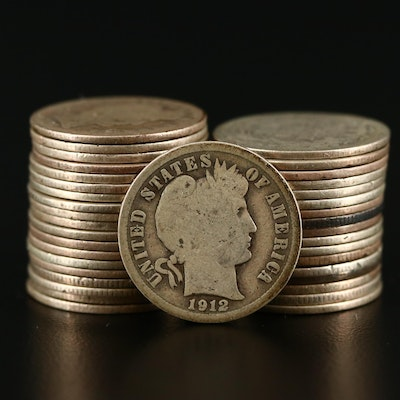 Thirty-Seven Silver Barber Dimes