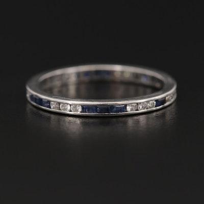 Platinum Diamond and Blue Sapphire Eternity Band