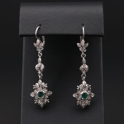 14K White Gold Emerald and Diamond Dangle Earrings