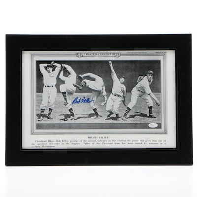 "Bob Feller Signed ""Mighty Feller!"" Print, Framed   COA"