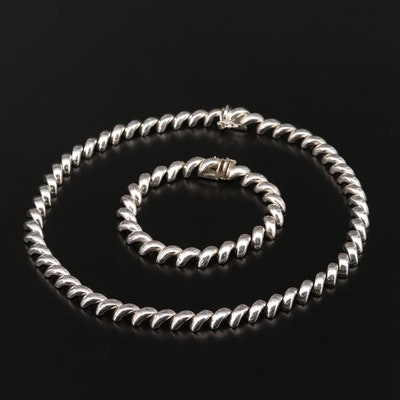 Sterling Silver San Marco Chain and Bracelet Set