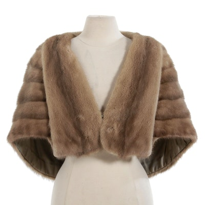Pastel Mink Fur Stole with Pockets, Mid-20th Century