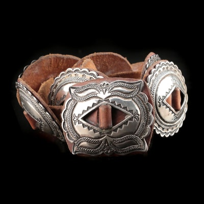 Sterling Silver Concho and Leather Southwestern Belt