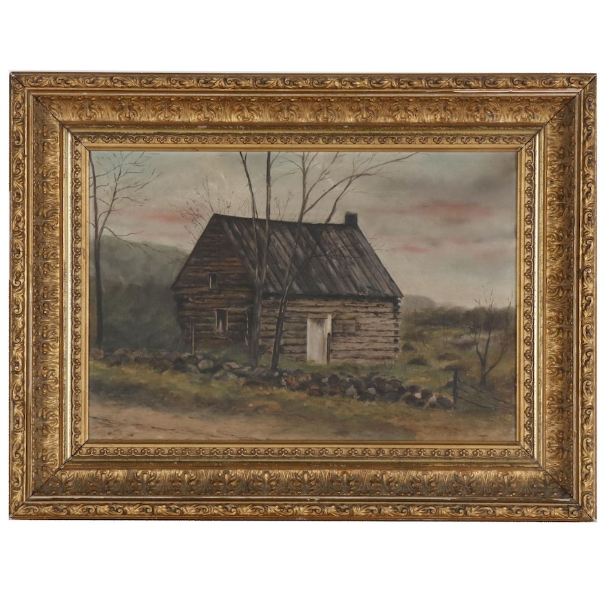 Oil Painting of Landscape with Log Cabin