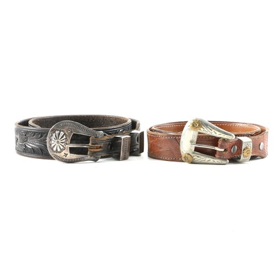 Kings Saddlery Leather and Sterling with Justin's Lizard and Nickle Silver Belts