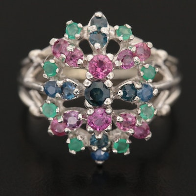 14K White Gold Sapphire, Ruby and Chalcedony Ring