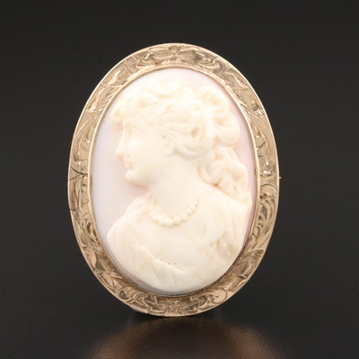 Vintage 10K Yellow Gold and Carved Conch Shell Cameo Converter Brooch