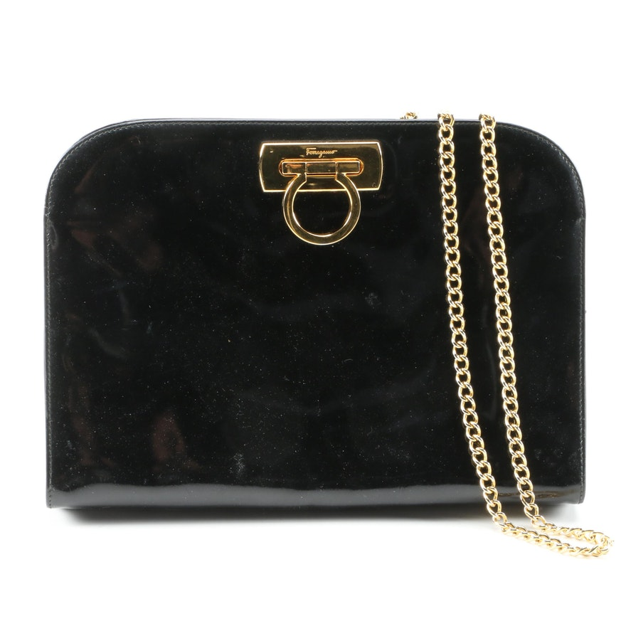 Salvatore Ferragamo Black Patent Leather Shoulder Bag, Vintage