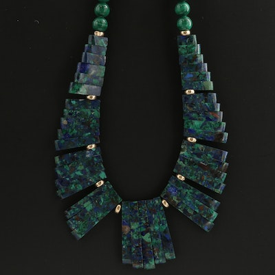 14K Yellow Gold Malachite and Azurmalachite Beaded Necklace