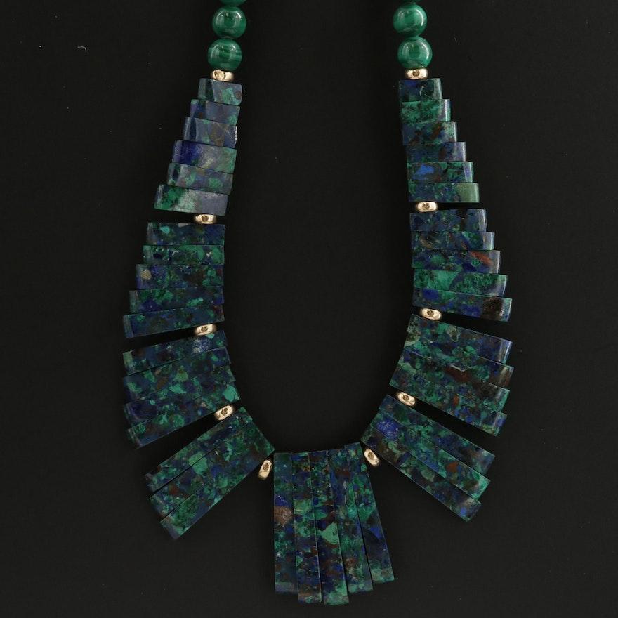 14K Yellow Gold Malachite and Azurmalachite Beaded Necklace