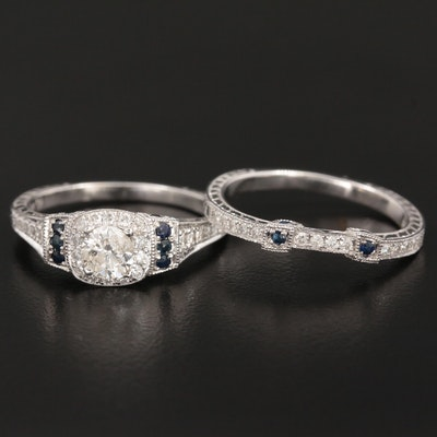 14K White Gold Diamond and Sapphire Ring Set