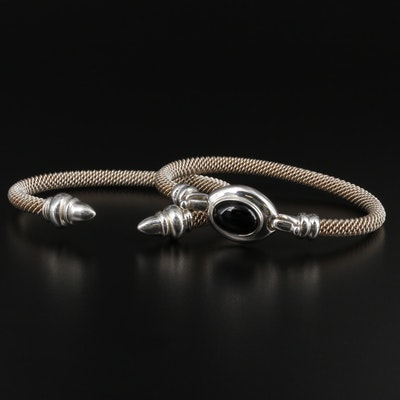 Joseph Esposito Sterling Silver Bracelets Featuring Black Onyx