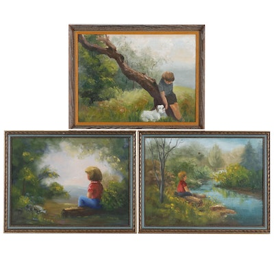 H. Howard Naive Oil Paintings of Children in Landscape