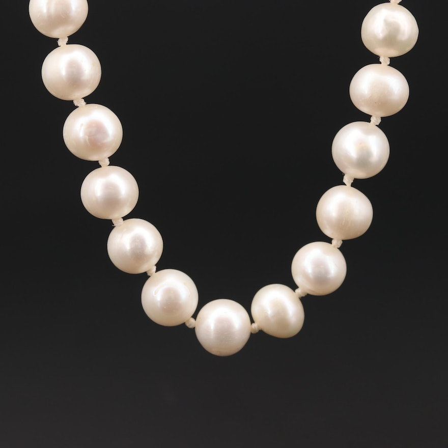 Pearl Individually Knotted Necklace with Sterling Silver Clasp