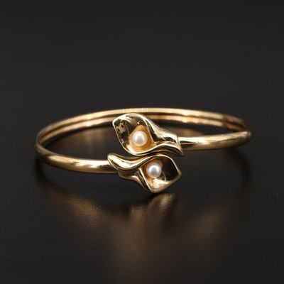 10K Yellow Gold Pearl Calla Lily Motif Bypass Bangle Bracelet