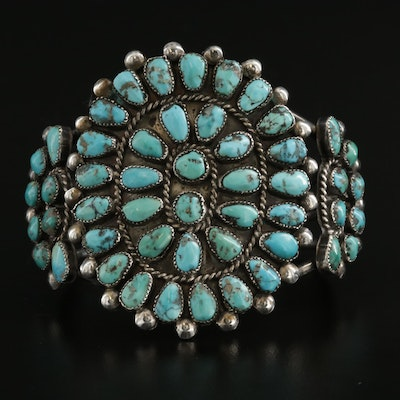 Southwestern Sterling Silver Turquoise Petit Point Cuff Bracelet