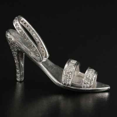 14K White Gold Diamond High Heel Slipper Pendant