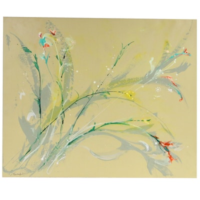 Farshad Lanjani Abstract Floral Acrylic Painting