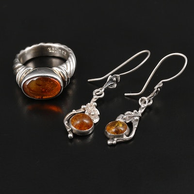 Sterling Silver Amber Earrings and Ring Featuring Joseph Esposito