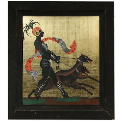 """Gouache Painting """"Maid With Hounds"""", Mid-20th Century"""