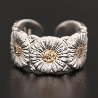 Buccellati Sterling Silver Diamond Floral Open Shank Ring