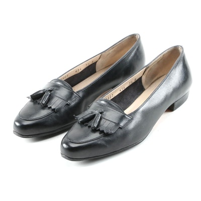 Salvatore Ferragamo Black Leather Loafers with Tassels