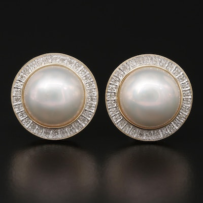 14K Yellow Gold Mabé Pearl Button Earrings with Diamond Halo