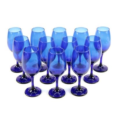 Cobalt Blue White Wine Glasses, Set of Twelve