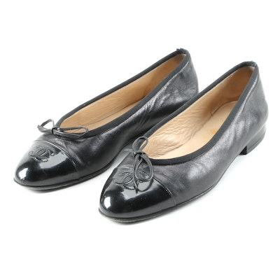 Chanel CC Black Leather Cap Toe Flats