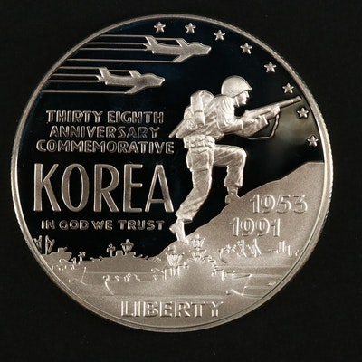 1991 U.S. Korean War Memorial Silver Dollar Proof Coin