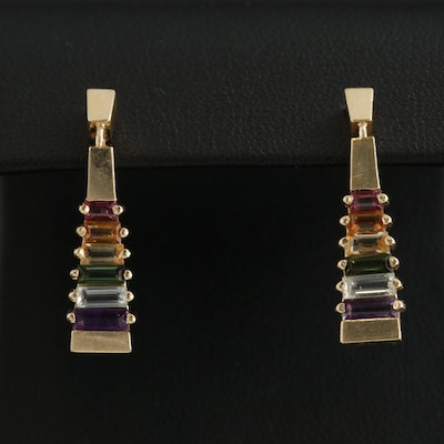 14K Yellow Gold Amethyst and Gemstone Earrings with Geometric Motif