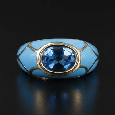 10K Yellow Gold Topaz and Enamel Ring