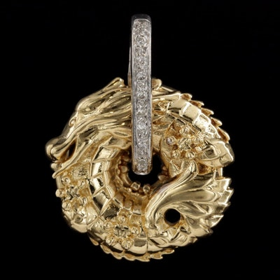 14K Yellow and White Gold Diamond Dragon Pendant