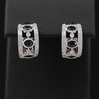 14K White Gold Blue Sapphire and Diamond Huggie Earrings