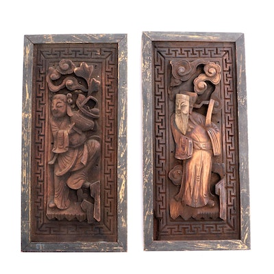 Chinese Carved Panels Depicting Lan Caihe and Zhang Guolao