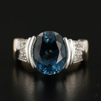 14K White and Yellow Gold Blue Topaz and Diamond Ring