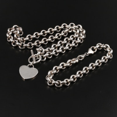 Sterling Silver Rolo Chain and Bracelet Set